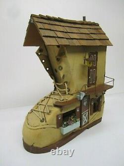 Vtg Old Woman Lived in Shoe Homemade Boot Lighted Doll House&Furniture Folk Art