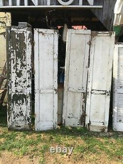 Vtg Pair 1800's Old Wooden Window Shutters Architectural Salvage 63in x14in