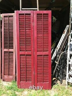 Vtg Pair 1800's Old Wooden Window Shutters Architectural Salvage 67in x 15in