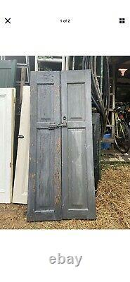 Vtg Pair Shabby Old Wooden Window Shutters Architectural Salvage Screen 65 x15