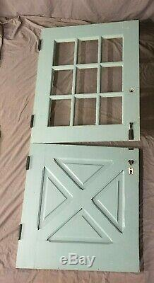 Vtg Solid Wood Dutch Door 9 Lite 78x34 Shabby Cottage Chic Old Entryway 46-20E