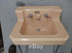 Vtg Sun Tan Bathroom Sink Chrome Legs Old Standard Plumbing 1550-16