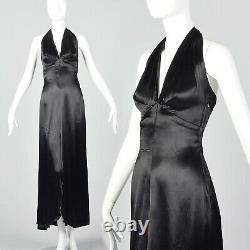 XXS 1930s Black Liquid Satin Halter Dress Backless Evening Gown Old Hollywood